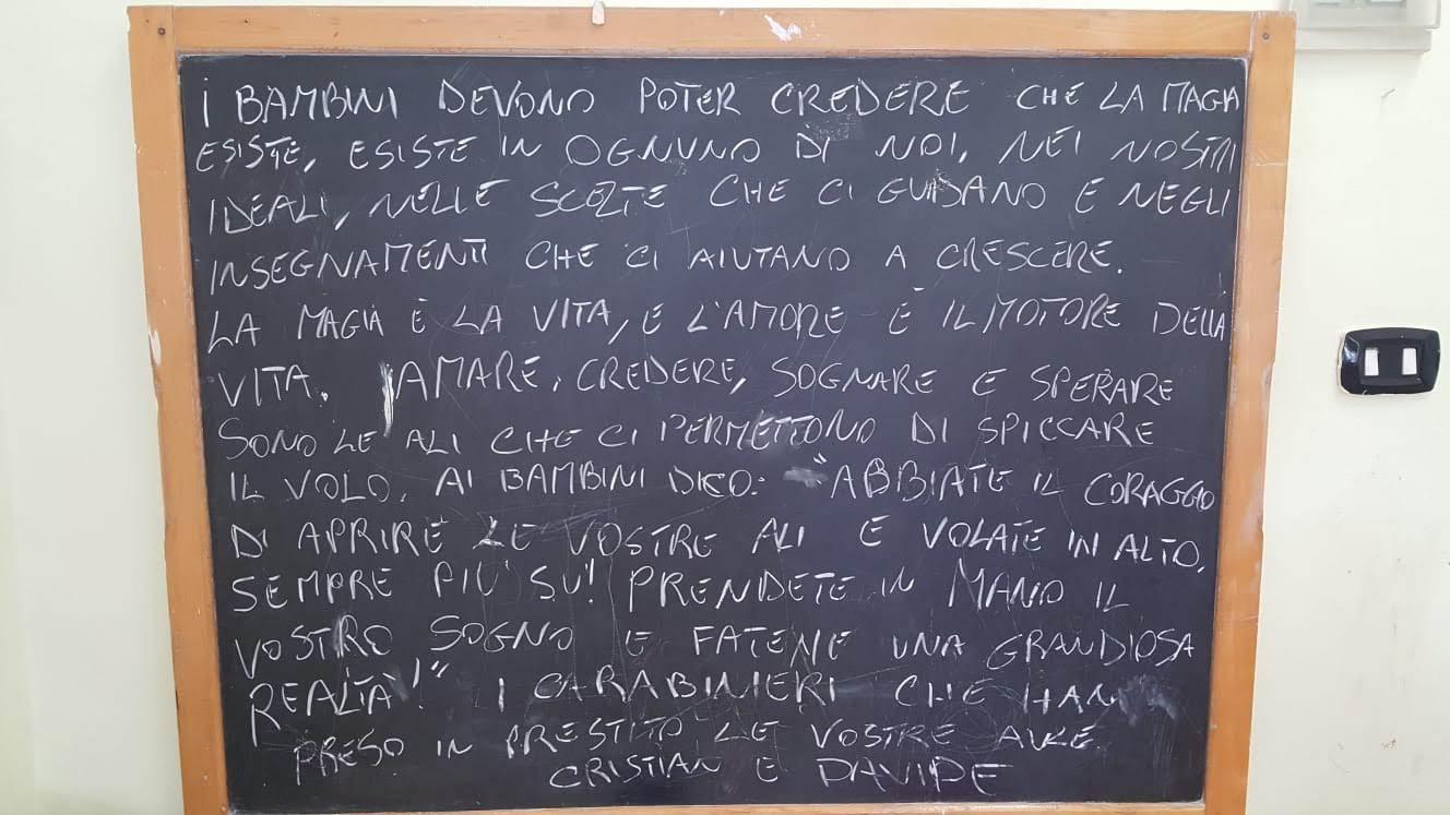 messaggio dei carabinieri per i piccoli di C.so Umberto