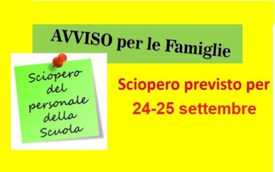 Proclamazione sciopero per l'intera giornata dei giorni 24 e 25 settembre 2020. Settore Scuola.